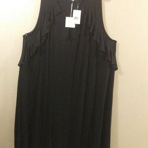 Plus Size 3X Black Ruffle Sleeve Swing Dress